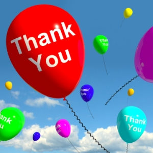thank you balloons in the sky as online thanks message